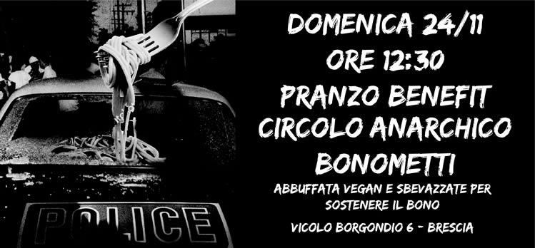 Domenica 24 Novembre, ore 12:30, pranzo benefit circolo anarchico Bonometti
