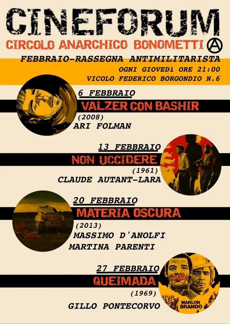 Cineforum Febbraio Rassegna Antimilitarista